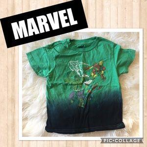 Marvel Green/Blue Superhero Short Sleeve Shirt 3T